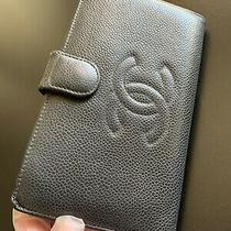 Vintage Chanel Coco Black Caviar Leather French Wallet With Coin Purse Photo