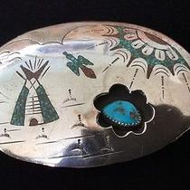 Vintage Chapo Navajo Sterling Silver and Tuquoise Belt Buckle. Native American. Photo