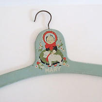 Vintage Childs Clothes Hanger Wooden Painted Mary & Little Lamb Nursery Baby Photo