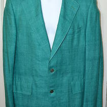 Vintage Chipp Turquoise Aqua Raw Silk Sport Jacket Blazer Coat Sz 43 Reg Euc Photo