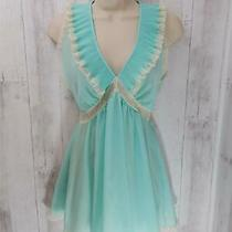Vintage Christian Dior Babydoll Lingerie Nightgown Mint Green Teddy Lace Jrs S Photo