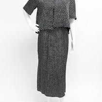 Vintage Christian Dior Black Silk White Polka Dot Maxi Dress Blazer Twinset Sz 6 Photo