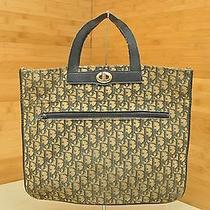 Vintage Christian Dior Blue Moogram Canvas Tote Bag Shopper Handbag Photo