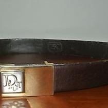 Vintage Christian Dior Brown Leather Belt Removable Monogram Buckle Photo