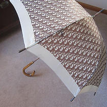 Vintage Christian Dior Brown Monogram Umbrella Wood Handle  Photo