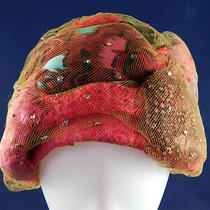 Vintage Christian Dior Colorful Feather Green Glitter Net Pink Boucle Turban Hat Photo