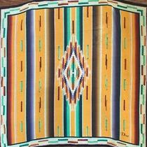 Vintage Christian Dior Ethnic Pattern Print Square Scarf 24 X 24 Chiffon Photo
