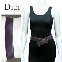 Vintage Christian Dior Geometric Buckle Violet Hip Drop Leather Belt Photo