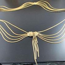 Vintage Christian Dior Goldtone 5 Strand Draping Chain Link Belt Necklace Signed Photo