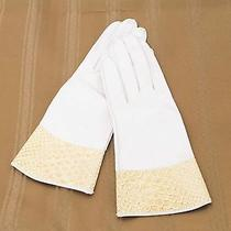 Vintage Christian Dior Ivory Kid Gloves With Snakeskin Size 6.5 Ref-132-Ab Photo