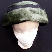 Vintage Christian Dior Ladies Hat Green Fur W Black Band and Bow in Back Cute Photo