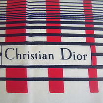 Vintage Christian Dior Large Silk Scarf Classic Red White Black Linear Pattern Photo