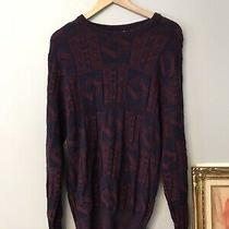 Vintage Christian Dior Monsieur Multicolor Knit Pullover Sweater Blue Red Medium Photo