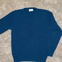 Vintage Christian Dior Monsieur Teal v Neck Sweater Embroidered Logo Men's Large Photo