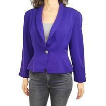 Vintage Christian Dior Sz 12 Purple Flaws One Button 100% Wool Blazer Jacket Photo