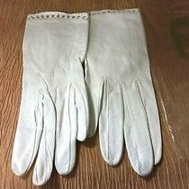 Vintage Christian Dior Women's Kidskin Leather Wrist Length Gloves Ivory Sz 7  Photo