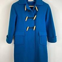 Vintage Christian Dior Wool Duffle Coat Childs Size 8 Teal With Wood Toggles Photo