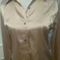 Vintage Christie & Jill  Gold Button Down Shirt Size 8 Photo