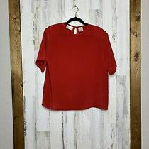 Vintage Christie & Jill Red Short Sleeve Polyester Blouse Size Large Photo