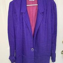 Vintage Christy Girl New York 80s Oversized Bright Purple Blazer Jacket Size 16 Photo