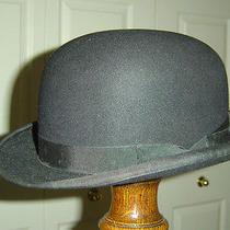 Vintage Christys 100% Fur Felt Black Bowler Hat 7 1/8 Photo