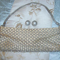 Vintage Circa 30s 40s Whiting & Davis Signed Handbag Earrings Interlocking Link Photo
