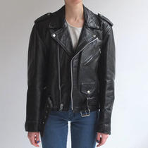 Vintage Classic Black Motorcycle Leather Jacket Coat Small Acne Style Photo