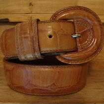 Vintage Classic Forenza Tan Croc-Stamped Leather Belt - Sm. Photo