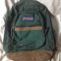 Vintage Classic Jansport Suede Leather Bottom Book Bag Backpack Green  Photo