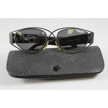 Vintage Claude Montana Black Gray Plastic Metal Oval Sunglasses in Case Photo