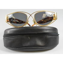 Vintage Claude Montana Metallic Gold Tortoise Plastic Oval Sunglasses in Case Photo