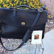 Vintage Coach 5265 Lexington Black Leather Briefcase Laptop Messenger Bag Usa Photo