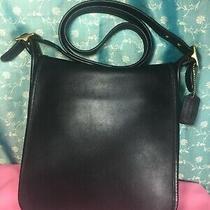 Vintage Coach 9144 Crossbody Carry Bag Purse Handbag Shoulder Bag Black Leather  Photo