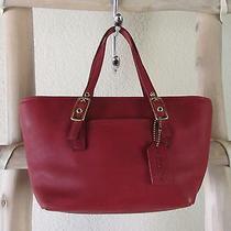 Vintage Coach 9846 Red Leather Legacy S Mini Market Tote Bag Usa  Photo