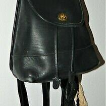 Vintage Coach 9960 Black Leather Daypack Small Backpack Purse  Photo