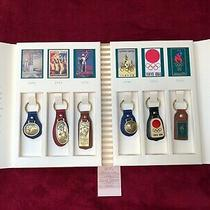 Vintage Coach Atlanta 1996 Olympics 6 Key Ring Set Complete. Original Packaging Photo