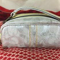 Vintage Coach Auth Make-Up Bag Wristlet Purse Handbag Canvas & Yellow Leather Photo