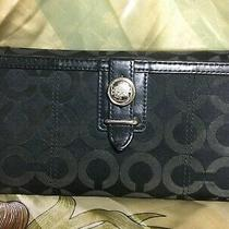 Vintage Coach Authentic Wallet Purse Handbag Clutch Black Canvas & Leather Photo