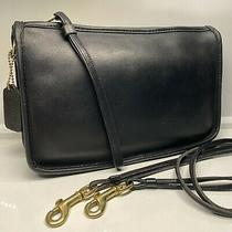 Vintage Coach Basic Bag Made in New York City Black Leather Crossbody Clutch Photo