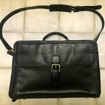 Vintage Coach Black Leather 0537 Laptop Attache / Messenger Bag / Case Photo