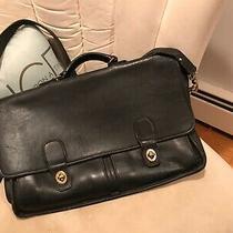 Vintage Coach Black Leather Briefcase Messenger Laptop 5275 Photo