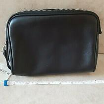 Vintage Coach Black Leather Cosmetic Travel Makeup Pouch Case Clutch Bag - Nwt Photo