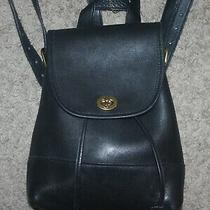 Vintage Coach Black Leather Day Turn-Key Drawstring Backpack 9960 Photo