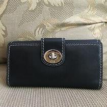 Vintage Coach Black Leather Envelope Wallet Clutch Organizer Turn Lock Photo