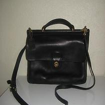 Vintage Coach Black Leather Flap Messenger Willis Crossbody Bag 9927 Photo
