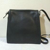 Vintage Coach Black Leather Messenger Shoulder Bag Photo