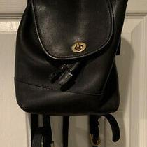 Vintage Coach Black Leather Mini Backpack Genuine Turnlock Top Handle9960 Photo