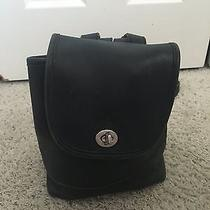Vintage Coach Black Leather Small Drawstring Backpack Photo