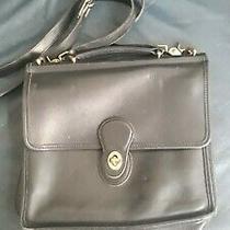 Vintage Coach Black Leather Willis Cross Body Messenger Bag Photo