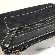 Vintage Coach Black Signature C Jacquard Leather Trim Wristlet Clutch Photo